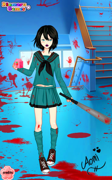 BLOOD ALL OVER THE PLACE And No Not Strawberry Milk Aomi Loves Her I Used Mega School Girl Dress Up Game To Make This Schoolgirl